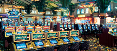 Big banks of slot machines inside Texas Station Gambling Hall & Hotel