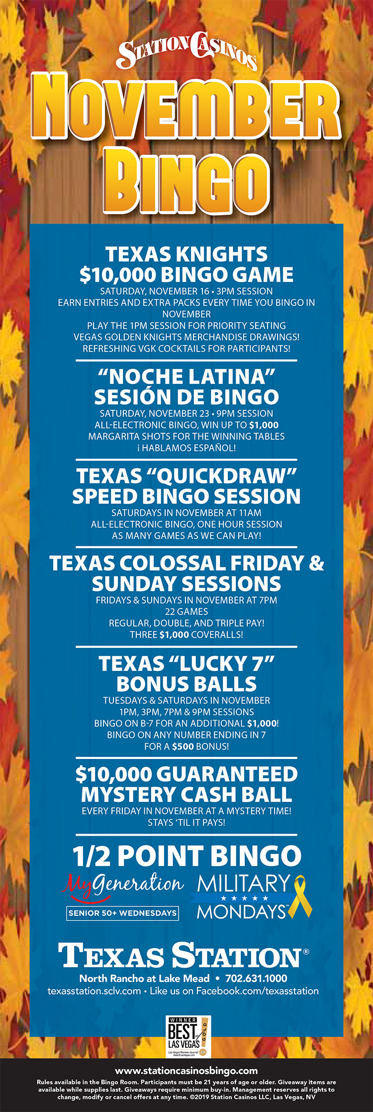 Texas Station May Bingo Specials